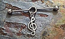 """1.5"""" 14g Surgical Steel Chinese Music Treble Clef Industrial Scaffold Barbell"""