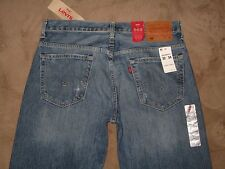 Levis 569 Size 32 Loose Straight Destroyed Light Blue Denim Mens Jeans New
