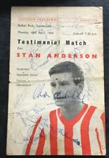 More details for sunderland v international xl stan anderson testimonial 1964 with ten autographs