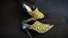 "Shoes 4.75"" Heels Sz 9 Leopard Print & Black Open Toe by Shoedazzle Zipper Back"