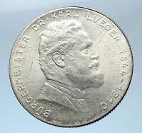 1935 AUSTRIA w Dr. Karl Lueger Austrian Silver Antique 2 Shillings Coin i73860