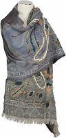 Schal scarf 100% Wolle wool  Grau hand bestickt handembroidered  Grey