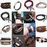 Men Women Leather Wrist Bracelet Handmade Wristband Punk Cuff Bangle Jewellery