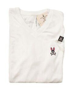Psycho Bunny Men's White Applique V-Neck Short Sleeve T-Shirt