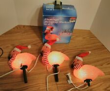 """LIGHTED FLAMINGO DRIVEWAY MARKERS SET OF 3 """"ONES MISSING A STAKE"""""""