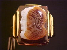 DECO 1920'S 10K YELLOW GOLD CARVED SOLDIERS IN SARDONYX RING  SZ 9.5  TOP 18X16""