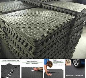 Black Interlocking Floor Mat EVA Soft Foam Gym Yoga Exercise Fitness Gymnastics