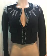 NEW Vintage Guess Wool Sequin Crop Jacket Coat Black Metal Chain Trim XS $198