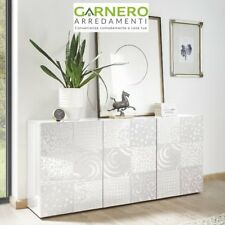 Madia MIRO 3 ante bianco mobile credenza base ripiani lucido soggiorno salotto