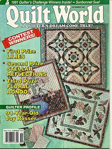 Quilt World Quilting Magazine Nov 1991 V16 N6 Applique & Pieced