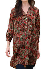 UK Sizes 6 - 32 Ladies Long Paisley Shirt Tunic Blouse Top Red Green EU 34-64 26 Red