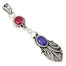 Sapphire & Ruby 925 Sterling Silver Pendant Jewelry 27272P