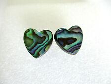 ABALONE SHELL HEART STUD EARRINGS. 12MM
