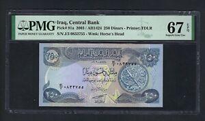 Iraq- 250 Dinars (2003/AH1424) P91a Uncirculated Graded 67