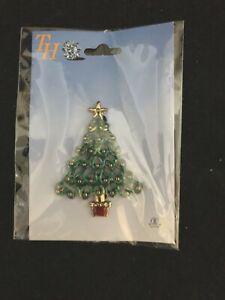 "TH Christmas Tree Brooch Pin Holiday 2 1/4"" Tall"