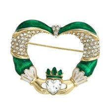 Rhinestones Green New w Gift Box Napier Irish Claddagh Brooch Pin Enamel Crystal