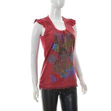 Desigual Mujer Volantes Gorra Camiseta sin Mangas Talla XL Rojo Estampado Camisa