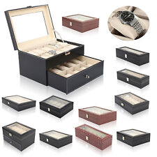 6-24 Grids Watch Display Case Jewelry Collection Storage Organizer Leather Box