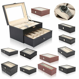 6-24 Grid Slots Watch Box Leather Display Glass Top Jewelry Storage Case