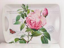 Large Redoute Rose Pink  Vintage Floral Melamine Lap Serving Tea Food Tray