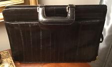 Black Eel Skin Soft Leather Vtg Business Portfolio Briefcase w/ Strap EC!