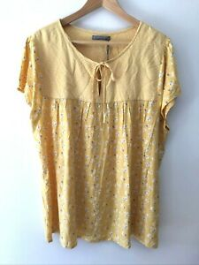 Katies Spring Twin Print Top Size 20 Cap Sleeve Yellow Floral Flower Casual