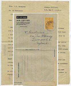 GOLD COAST JUMAPO AEROGRAMME 6d KG6 1951 re GREEN SALMON from JAPAN