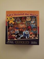 """Dowdle 100 Piece  Jigsaw Puzzle (16"""" x 20"""") CATS AROUND THE WORLD in Map Box"""