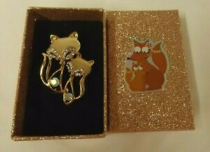Fox diamante brooch with decorated gift box