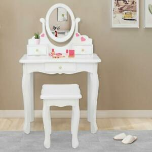 Fashion /& Makeup Accessories for Kid and Pretend Play Set Chair Drawer Abvenc Toddler Fantasy Vanity Beauty Dresser Table Playset Sounds Kids Vanity Makeup Table and Chair Set with Lights