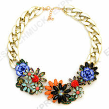 Große Statement Strass Kette Halskette Blumen Designer Collier Rosen Strass bunt
