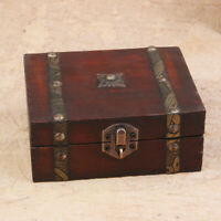 "5.1"" Decorative Trinket Jewelry Lock Chest Handmade Wooden Storage Buckle Box"