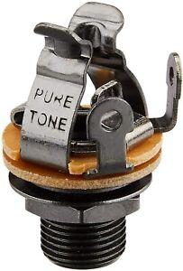 "Genuine PURE TONE 1/4"" Multi-Contact Mono Guitar Output Jack BLACK NICKEL PTT1BN"