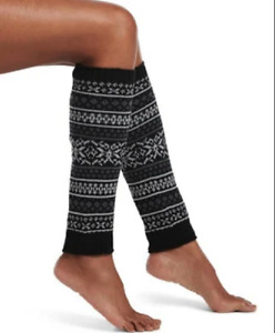Hue 1 pair Women's Fairisle Black Knee Length Leg Warmers One Size U20058 NEW