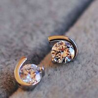 Women Fashion Crystal Zircon Moon Crescent Silver Ear Stud Earrings Jewelry Gift