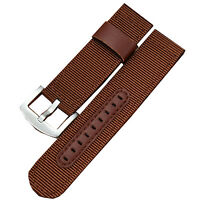 New 20mm Brown Military Army Canvas Nylon Fabric Wrist Watch Band Strap Buckle