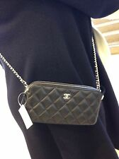 Auth BNIB Chanel CC WOC Double Zip Black Lambskin Wallet On A Chain Bag 2017