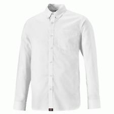 Dickies White Work Shirt Cotton Oxford Long Sleeve Mens Smart Button Down Collar