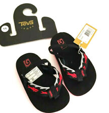 TEVA Mush II Toddler Sharks Sandals Flip Flops Thong Black Red NWT Size 5
