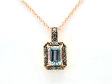 LeVian Aquamarine Chocolate Diamond Pendant Necklace Emerald Cut 14k Rose Gold
