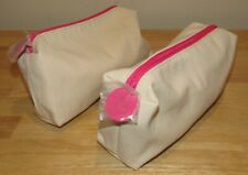 2 Origins Cosmetic Bags Ivory PINK Toiletry Travel Case Makeup Set Lot NEW