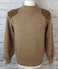 """Vintage brown pure wool rustic hunting jumper chest 42"""" M short elbow patches"""