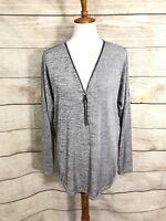 Joseph Ribkoff Zip Up Blouse Detail Silky Soft Longsleeve Womens Size 12 $169