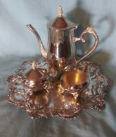 Vintage Silverplate Fancy Tea Set With Large Serving Tray