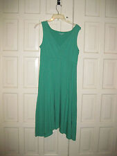 Eileen Fisher Sz S Green V-Neck Surplice Cotton Jersey Dress New w/o Tags