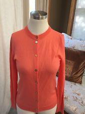 J. Crew Caryn Coral Orange Cardigan Sweater Merino Blend Small Excellent RR4TR