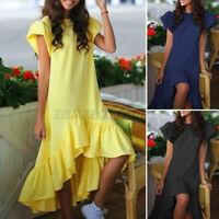 Women's Ladies Plus Size Dress O Neck Puff Sleeve Ruffled Asymmetric Dresses