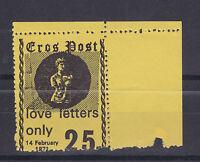 1971 STRIKE MAIL EROS POST 25p BLACK ON YELLOW STAMP CORNER MARGINAL MNH (a)