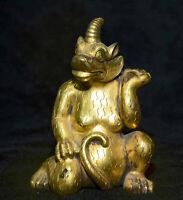 "4 ""cuivre antique chinois 24K or doré Feng Shui Animal bête Licorne Statue"
