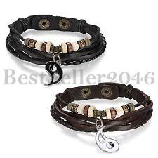 1pair Retro Ying Yang Taiji Bagua Pendant Braided Leather Couple Bangle Bracelet